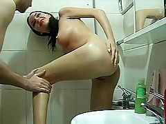 Sexy masturbates and gives head in a shower