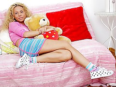 Curly blonde double owned with rod and dildo