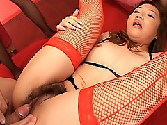 Naughty Asian girls in a threesome with a guy sucking his cock playing in cum