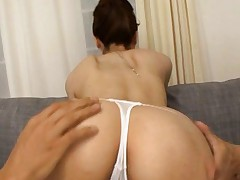 Yui Akane sexy babe shows off perfect ass in hot white thong
