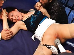 Yuka Osawa Asian is fucked with vibrator and threatened with gun