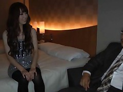 Yui Hatano Asian in silver dress is touched over nylon stockings