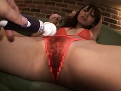 Eri Ouka Asian with pink handcuffs gets vibrator over red thong