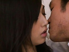 Saori Hara schoolgirl is kissing teacher who is on top of her