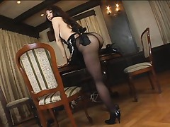Yuka Osawa Asian shows ass in black nylon stockings on the table