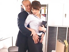 Hot Akiho Yoshizawa gets kissed by a horny businessman who wants to have sex