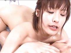 Nao Ayukawa Asian with curves full of lotion licks fellow balls
