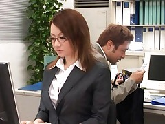 Reon Otowa Asian worker gets laid on office table by co-worker