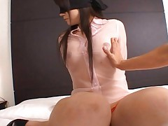 Chihiro Kawaoka has red thong over slit and big tits in shirt