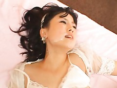 Io Asuka gets a facial after fucking two horny guys
