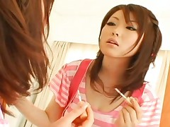 Rio Hamasaki plays with herself and kisses her mirror reflection