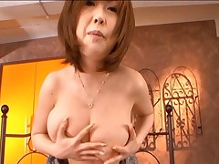 Rio Hamasaki has cum on her tits and nipples after sucking cock