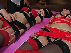 Maria Ozawa and Anri Suzuki bad Asian sluts tied up and getting pussies spread
