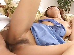 Haruka Sanada gets a cock in her hairy pussy in different poses