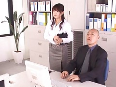 Megu Fujiura Asian gets boss hands under her skirt and on boobs