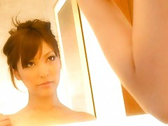Kokomi Sakura Asian caresses her big jugs under shower's water