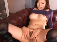 Nana Konishi Asian busty opens cunt and invites dude to fuck her