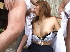 Risa Tsukino Asian sucking dong after she got cum from other dick
