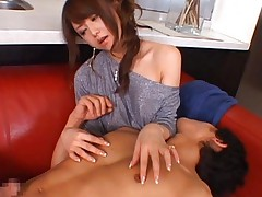 Akiho Yoshizawa in fancy dress stroking penis again and again