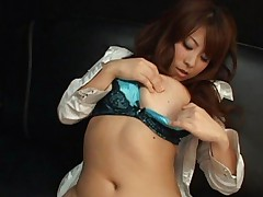 Mini Kousaka Asian in blue lingerie plays with her juicy hooters