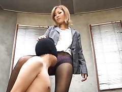 Aika Asian doll has pussy licked by masked man over stockings