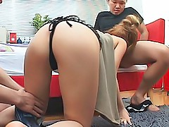 Horny Asian model sucks cock aand gets a hard pussy pounding fuck