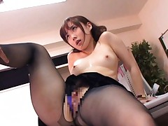 Reona Kanzaki Asian is pumped through nylon stockings on office