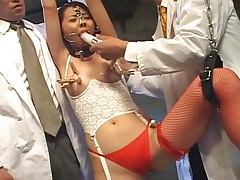 Syokora Satou is in the bondage dungeon and at the mercy of men