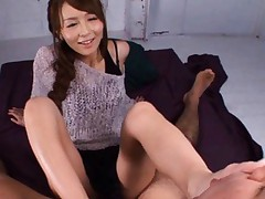 Japanese AV Model has nipples bitten and rubs cock with feet