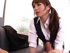 Miku Ohashi Asian in office uniform strokes phallus in her way