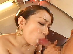 Nao Yoshizaki gets cum on her face from her horny student