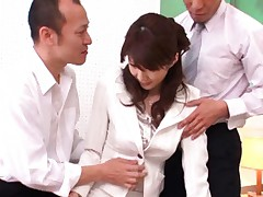 Erika Kirihara Asian has boobs undressed and touched by two hunks