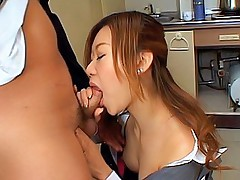 Cute Japanese slut sucks cock and then gets a pussy pounding by her date