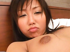 Japanese AV Model topless takes man pants off and sucks his dong