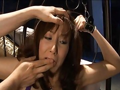 Honami Takasaka has cum dripping out of her mouth and chin