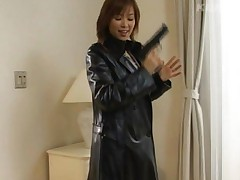 Yua Aida Asian in leather coat tides dude and presses his mouth