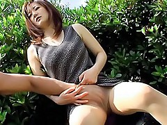 Haruna Yamagishi spreads her legs for a cock in her hairy pussy
