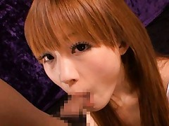 Yuu Konishi Asian blonde gives strong blowjob to lucky fellow