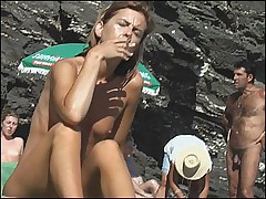 Sunning naked bitch caught while smoking