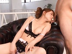 Akiho Yoshizawa with fine melon out of bra takes penis in mouth