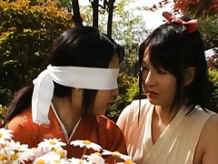 Yui Tatsumi Asian in wild adventure with other dame in the woods