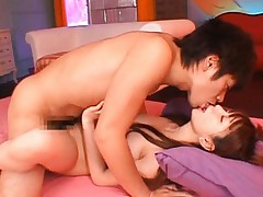 Mayu Nozomi Teen enjoys a pussy pounding and sucking cock