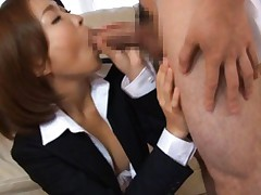 Yuna Hasegawa Asian gets dicks in mouth and from behind at once
