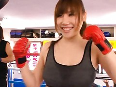Honami Uehara Asian with red panty is teased by fitness trainer