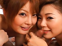 Japanese AV Model sharing cock with other hot lesbian friends