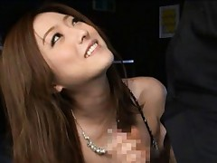 Ai Haneda hot Asian model rubs a cock on her round ass upskirt