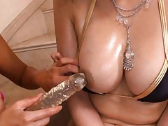 Ami Asian cupcake and another sex bomb lick dildo and fuck slits
