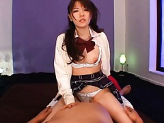 Rui Saotome Asian is almost strangled while she rides cock on top