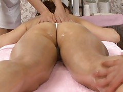Yuka Osawa Asian with string in ass hole is oiled and touched