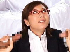 Yuma Asami Asian office worker gets tits licked by co workers